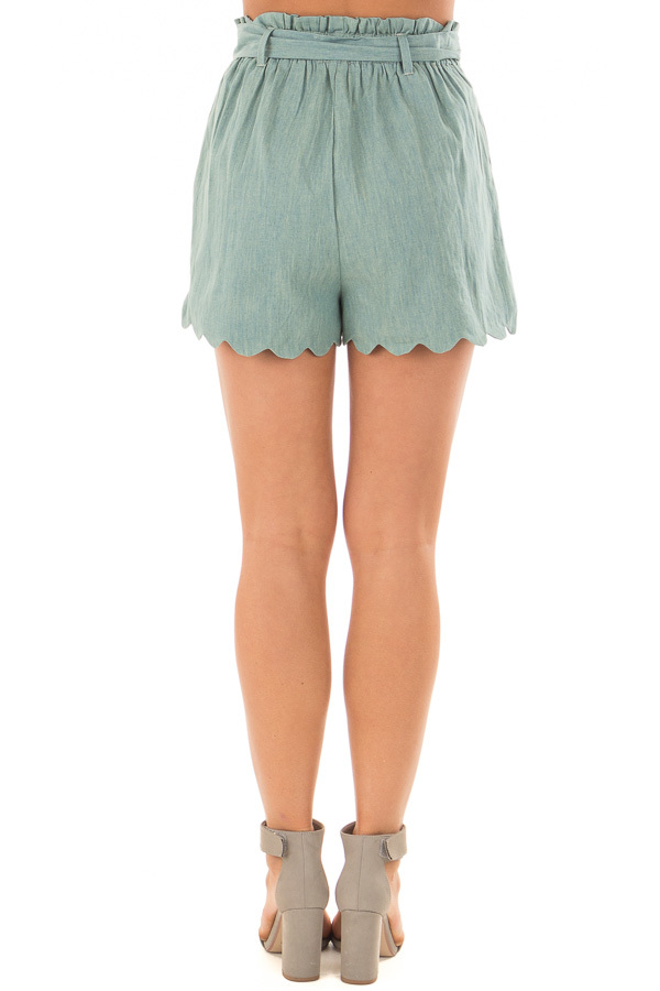 Sea Green Scallop Hem Shorts with Waist Tie Detail back view