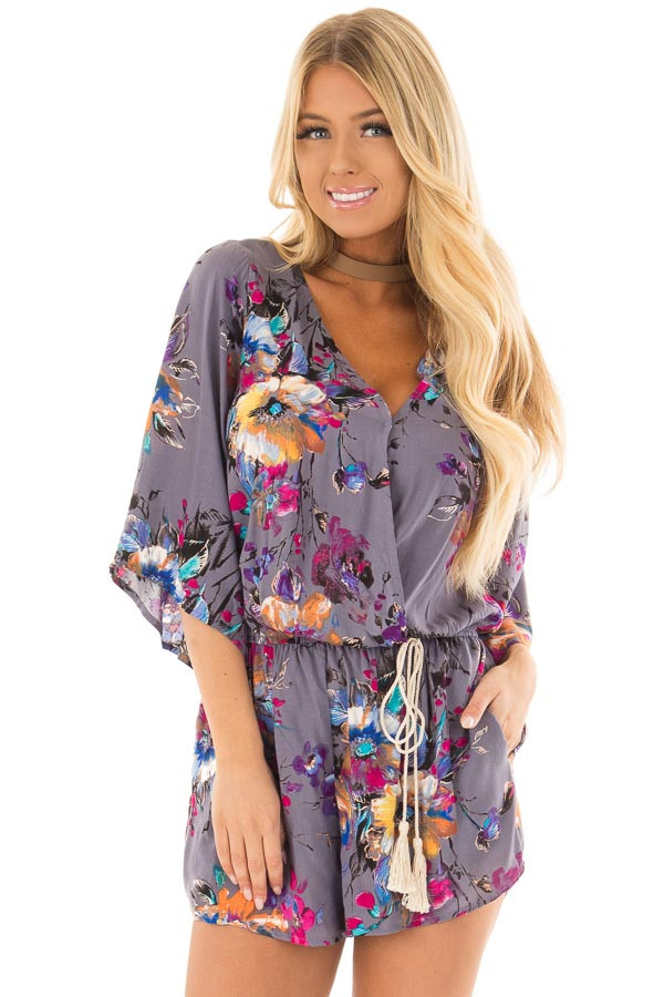 Stormy Grey Floral Print Romper with Tassel Waist Tie front close up