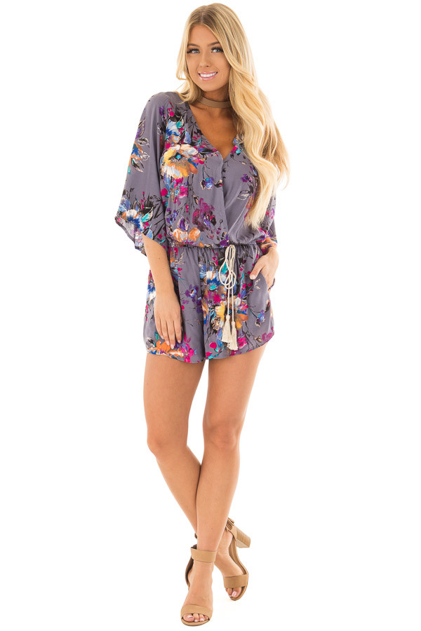 Stormy Grey Floral Print Romper with Tassel Waist Tie front full body