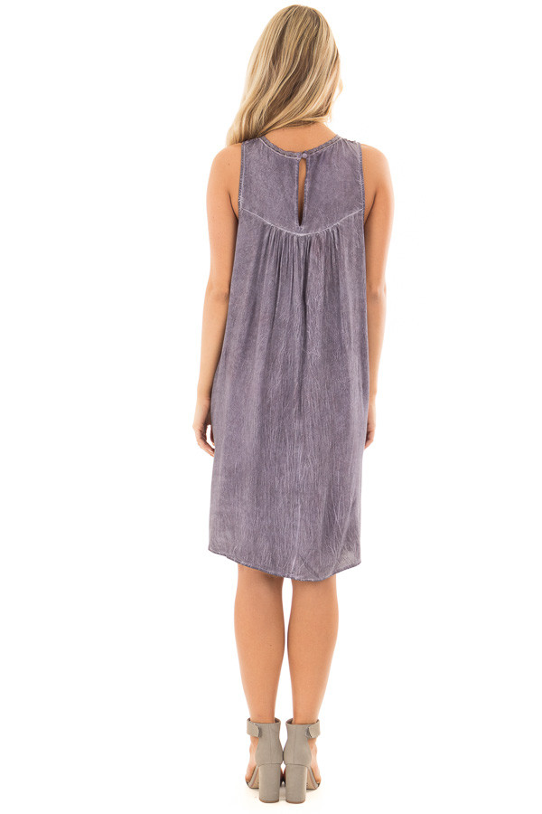 Lavender Mineral Wash Dress with Sheer Lace Contrast back full body