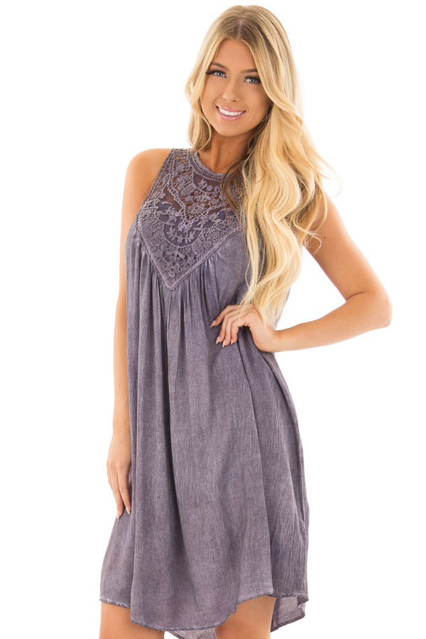 Lavender Mineral Wash Dress with Sheer Lace Contrast front close up