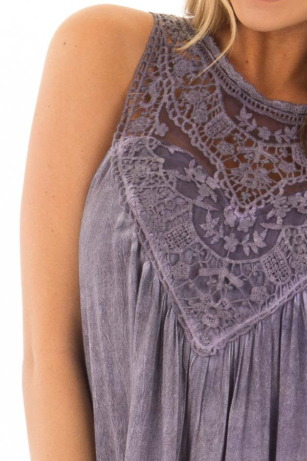 Lavender Mineral Wash Dress with Sheer Lace Contrast detail