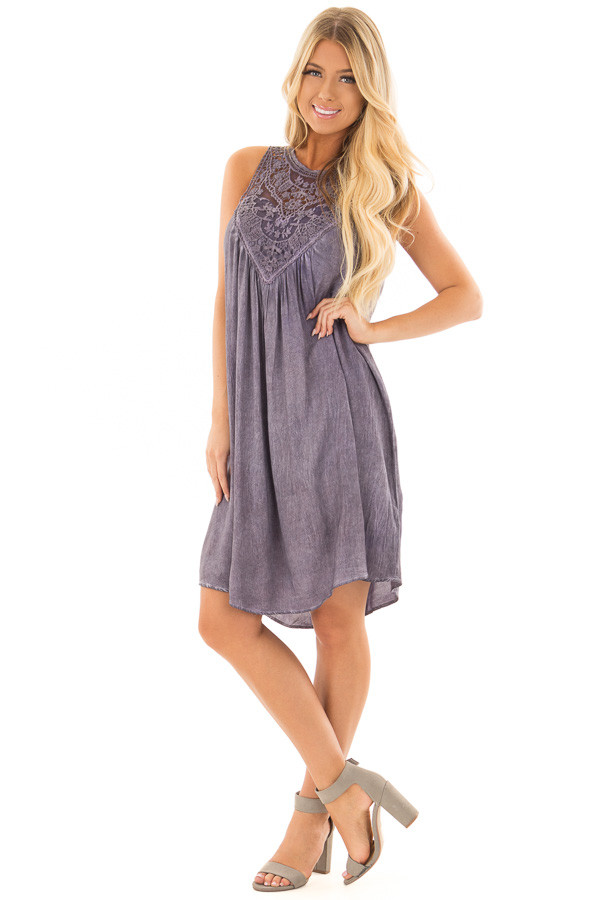 Lavender Mineral Wash Dress with Sheer Lace Contrast front full body