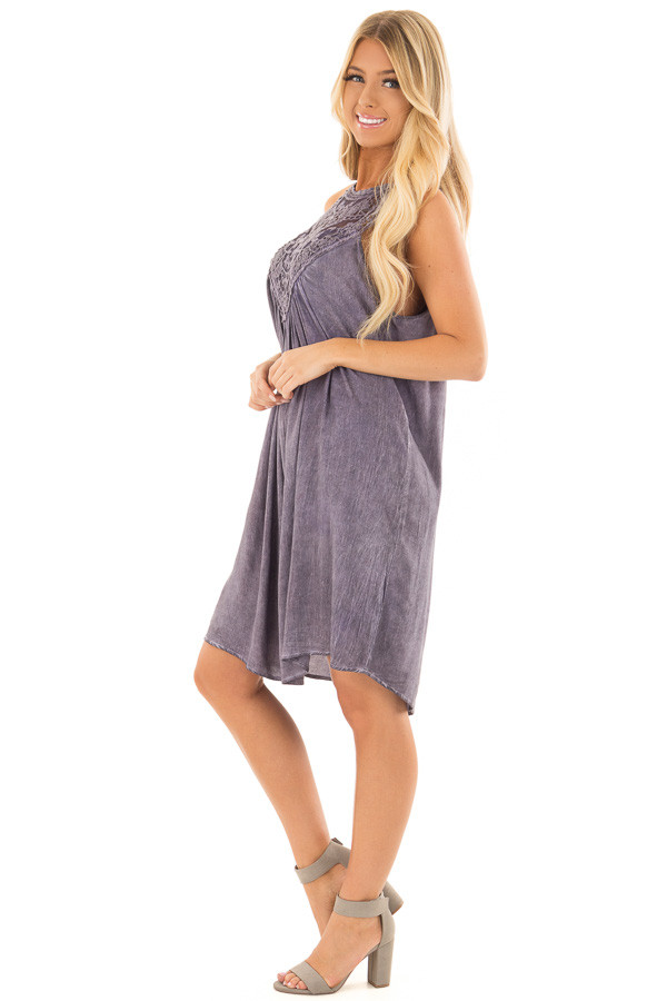 Lavender Mineral Wash Dress with Sheer Lace Contrast side full body