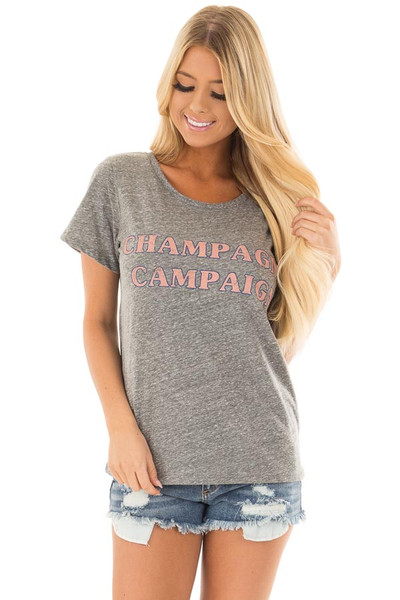 Charcoal Two Tone 'Champagne Campaign' Top front close up