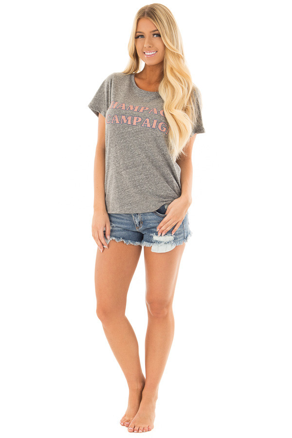 Charcoal Two Tone 'Champagne Campaign' Top front full body