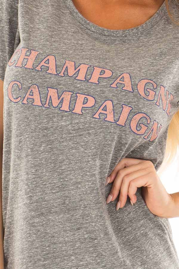 Charcoal Two Tone 'Champagne Campaign' Top detail