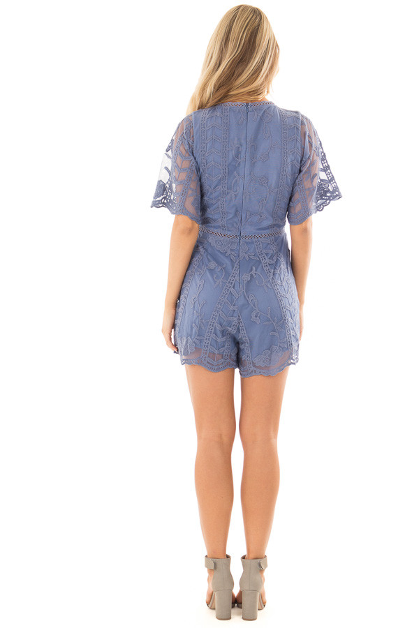 Snorkel Blue V Neck Lace Romper back full body