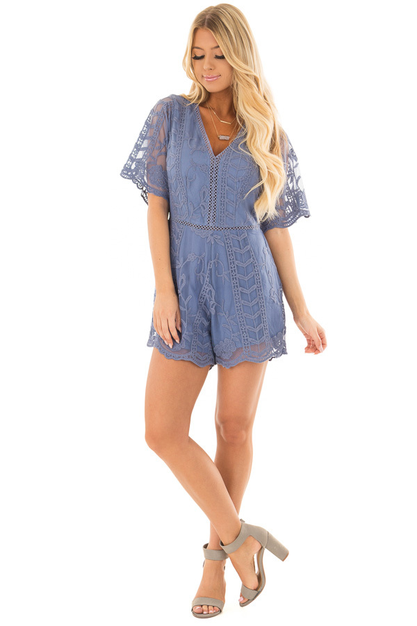 Snorkel Blue V Neck Lace Romper front full body
