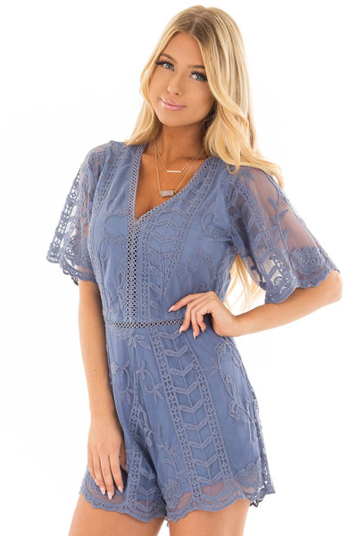Snorkel Blue V Neck Lace Romper front close up