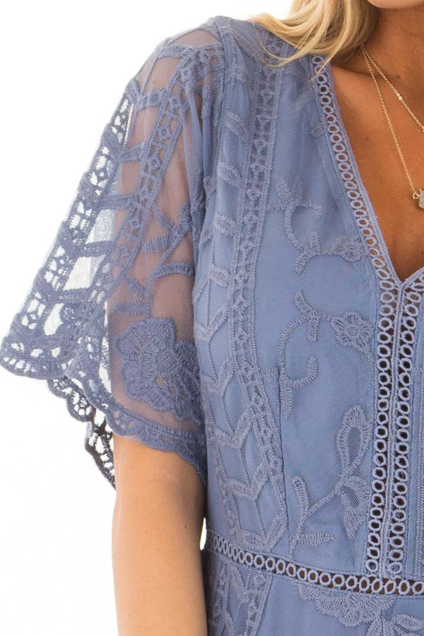 Snorkel Blue V Neck Lace Romper detail