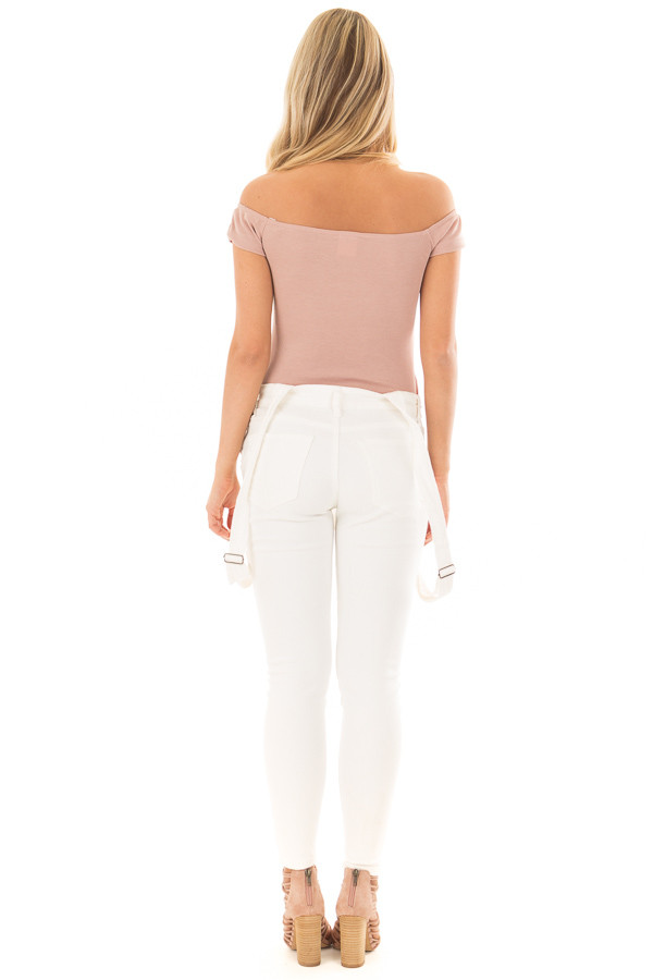 Dusty Rose Off the Shoulder Ribbed Top back full body