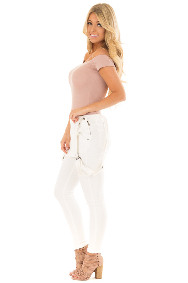 Dusty Rose Off the Shoulder Ribbed Top side full body