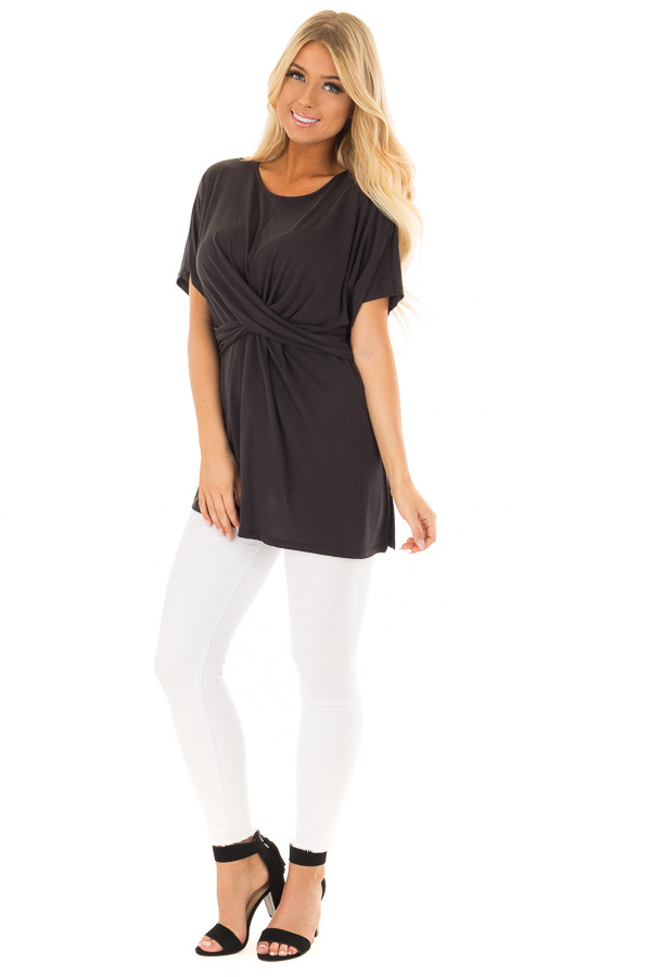 Black Short Sleeve Top with Front Cross Overlay Detail front full body