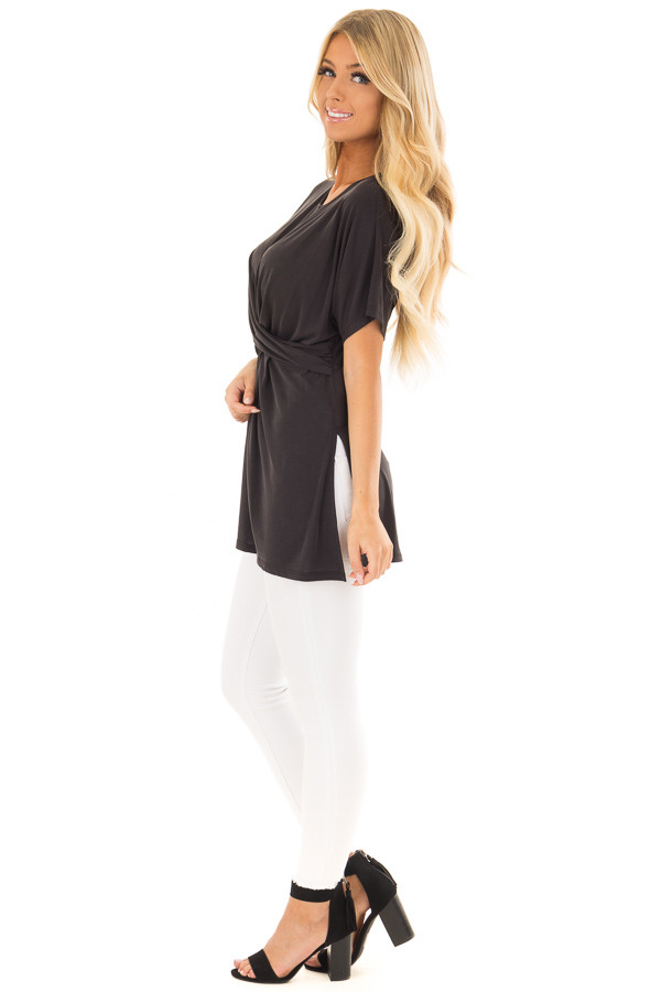 Black Short Sleeve Top with Front Cross Overlay Detail side full body