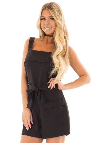 Black Romper with Waist Tie and Front Pockets front close up