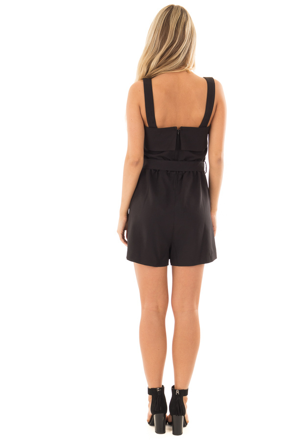 Black Romper with Waist Tie and Front Pockets back full body