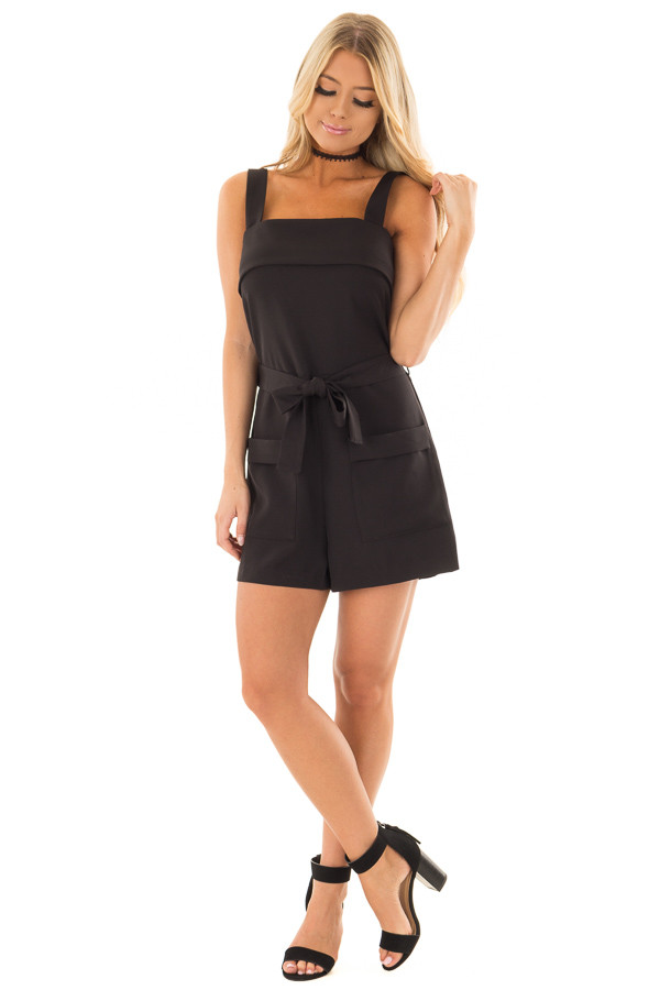 Black Romper with Waist Tie and Front Pockets front full body