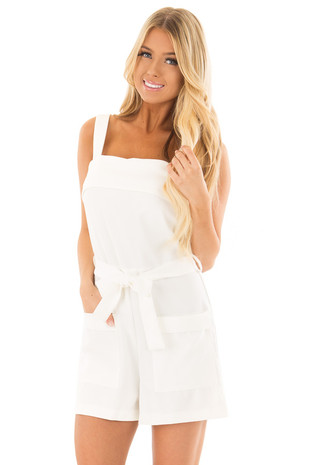 White Romper with Waist Tie and Front Pockets front close up