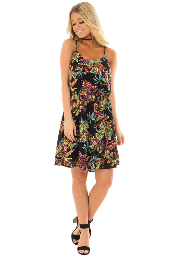 Black Jungle Print Sleeveless Dress with Elastic Waist front full body