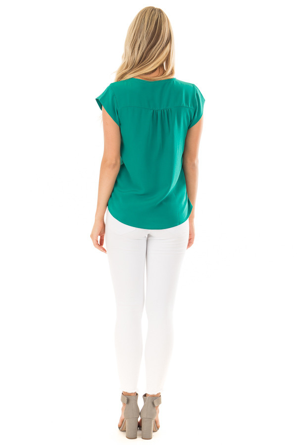 Kelly Green Blouse with Zip Up Neckline back full body