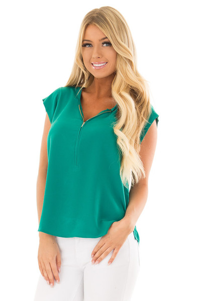 Kelly Green Blouse with Zip Up Neckline front close up