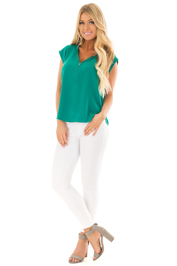 Kelly Green Blouse with Zip Up Neckline front full body