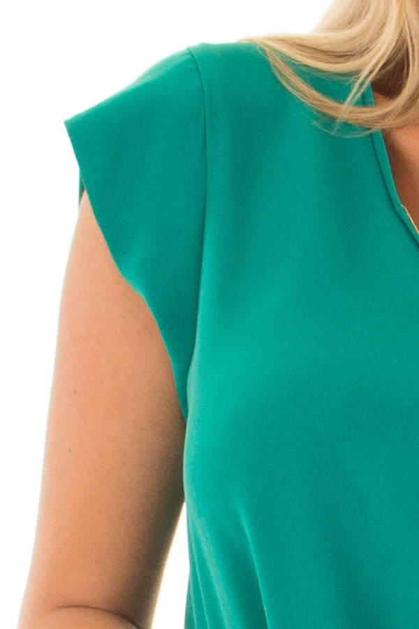 Kelly Green Blouse with Zip Up Neckline detail