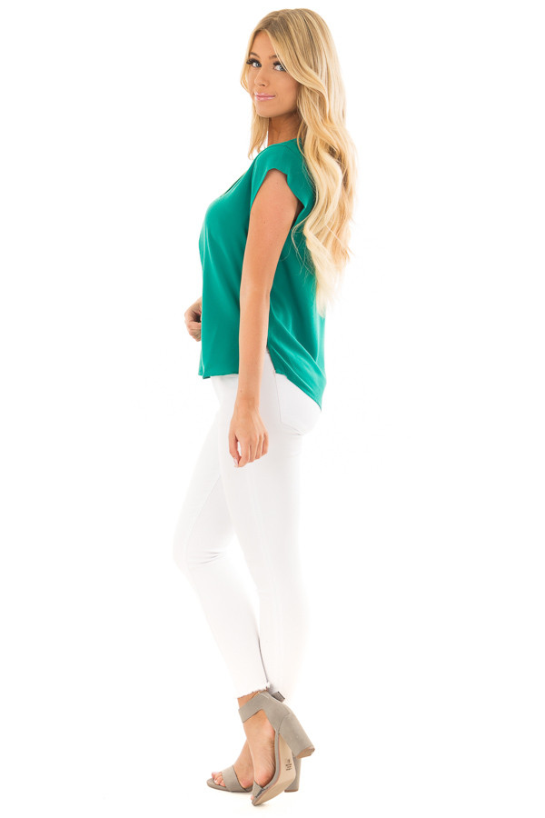 Kelly Green Blouse with Zip Up Neckline side full body