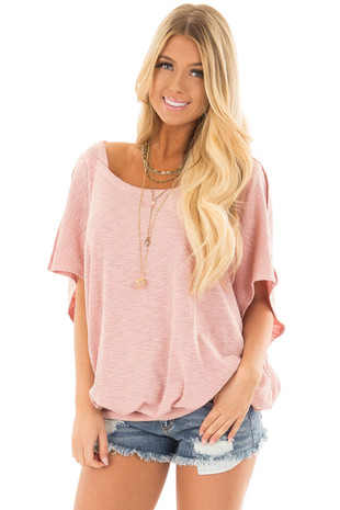 Blush Oversized Textured Top with Back Wrap V Cut Detail front close up