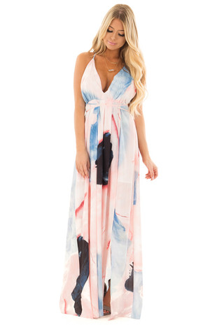 Pastel Pink Marbled Halter Top Maxi Dress front full body