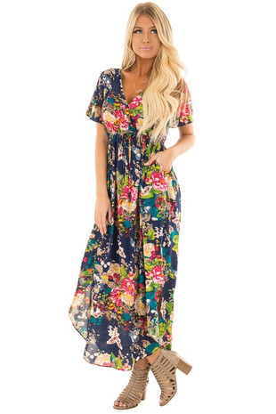 Navy Floral Print V Neck Maxi Dress front full body