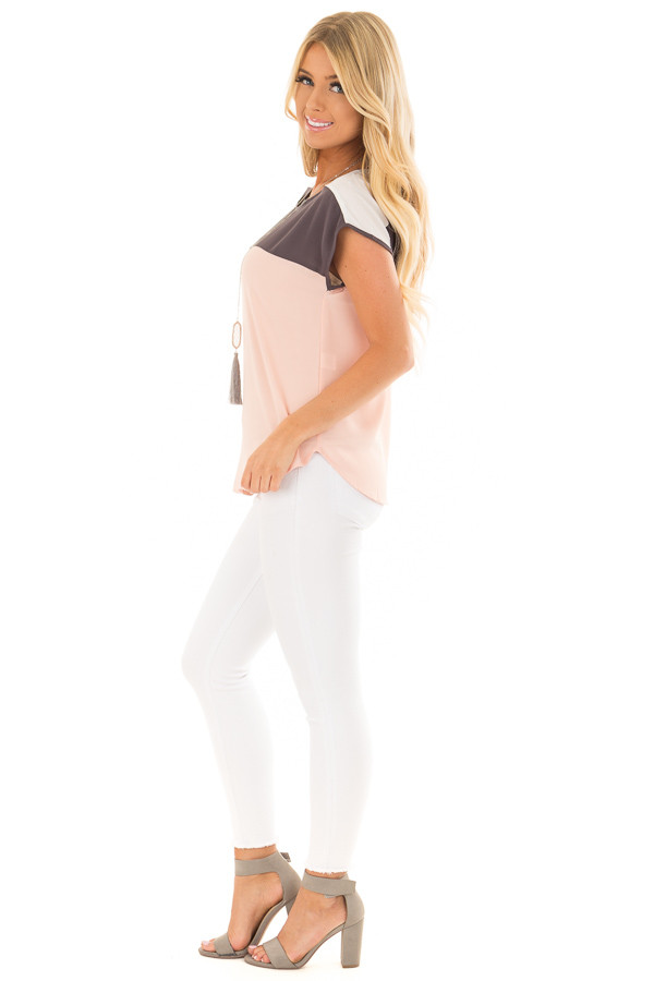 Blush Charcoal and White Color Block Cap Sleeve Blouse side full body