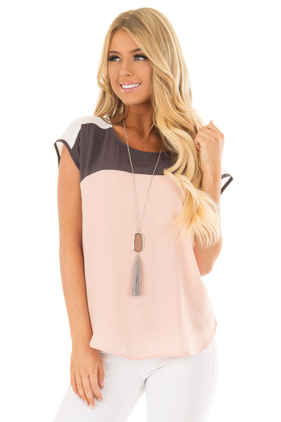Blush Charcoal and White Color Block Cap Sleeve Blouse front close up