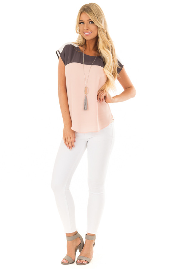 Blush Charcoal and White Color Block Cap Sleeve Blouse front full body
