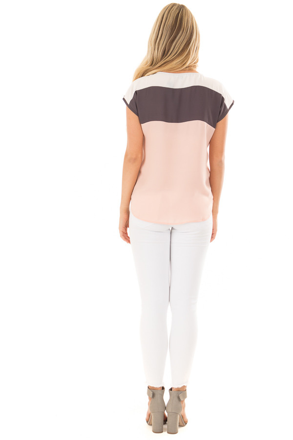 Blush Charcoal and White Color Block Cap Sleeve Blouse back full body