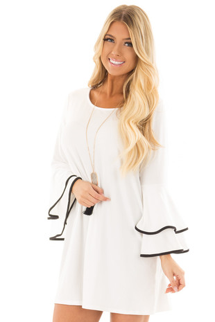 White Tier Bell Sleeve Top with Black Detail front close up