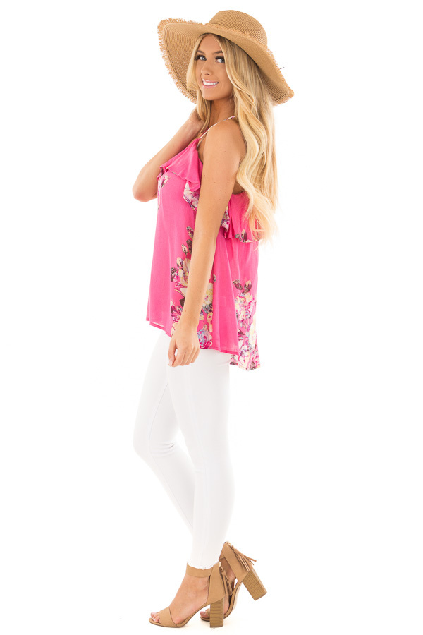 Hot Pink Floral Print Halter Top with Ruffle Detail side full body