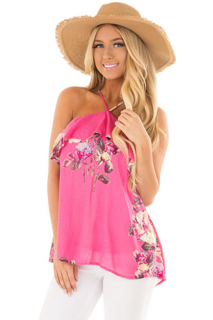 Hot Pink Floral Print Halter Top with Ruffle Detail front close up