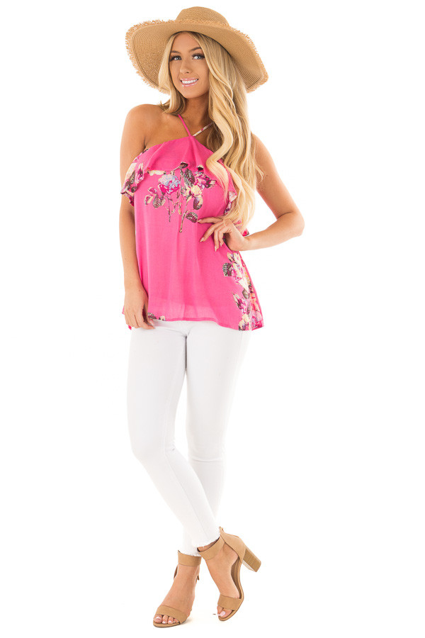 Hot Pink Floral Print Halter Top with Ruffle Detail front full body