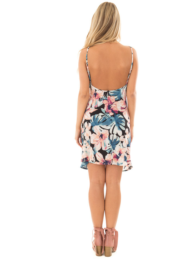 Floral Print Tank Dress with Adjustable Straps back full body