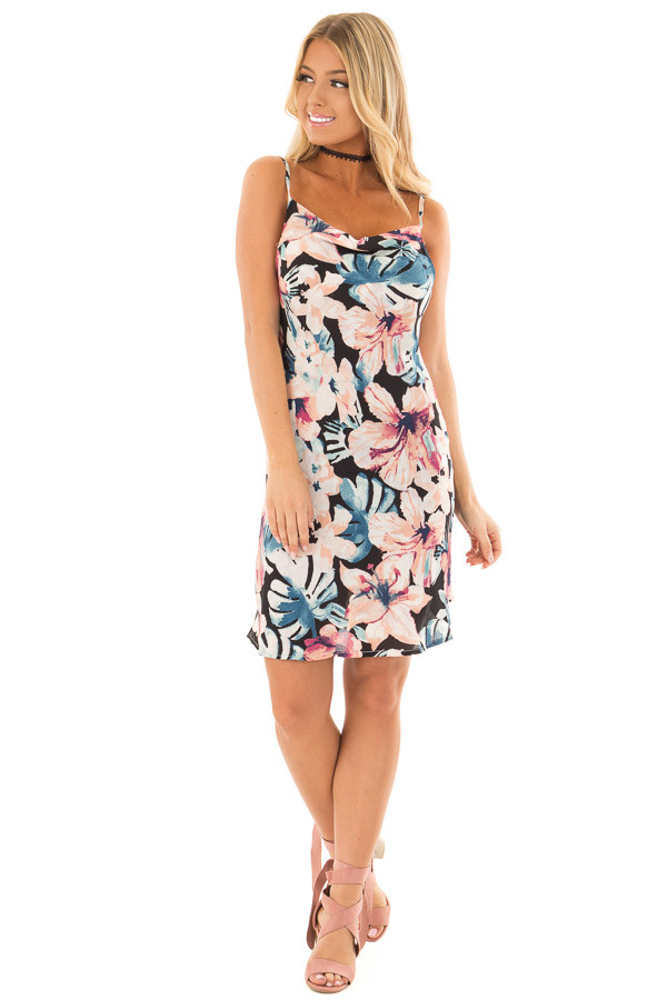Floral Print Tank Dress with Adjustable Straps front full body