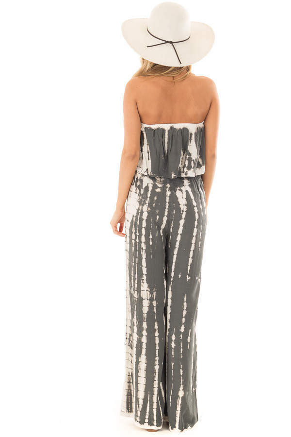 Charcoal Tie Dye Strapless Jumpsuit back full body