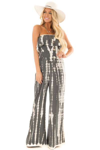 Charcoal Tie Dye Strapless Jumpsuit front full body