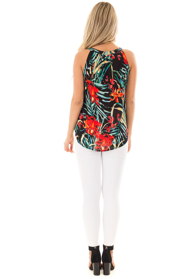 Black Tropical Print Surplice Top back full body