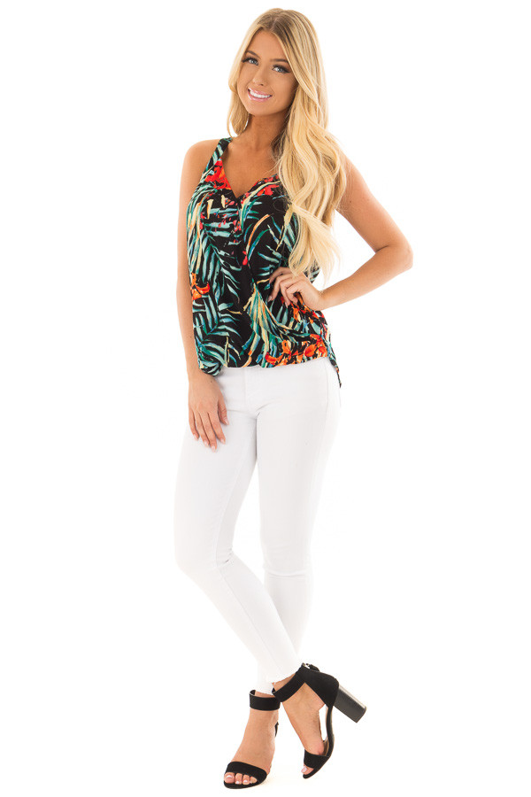 Black Tropical Print Surplice Top front full body