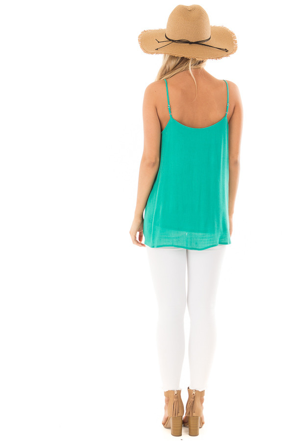 Jade Button Up Tank Top back full body