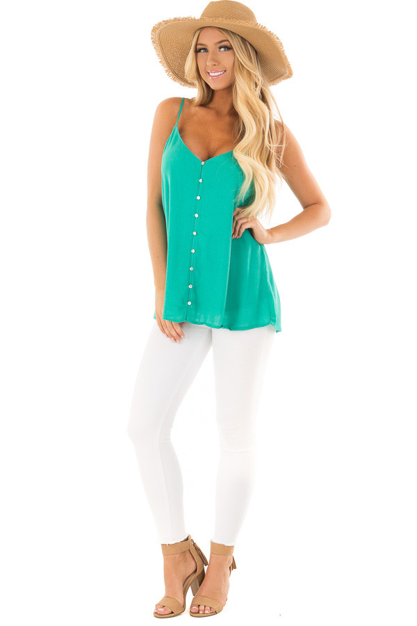 Jade Button Up Tank Top front full body