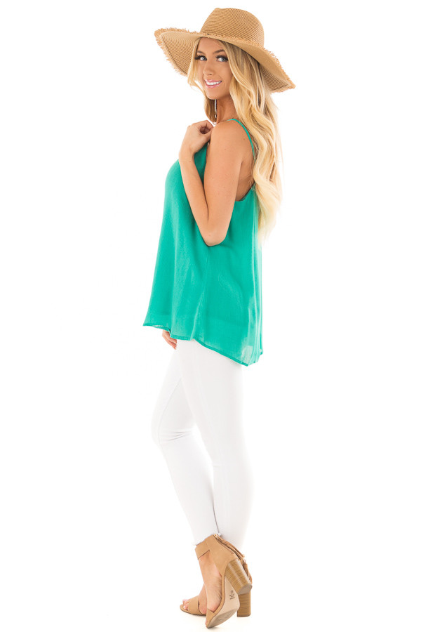 Jade Button Up Tank Top side full body
