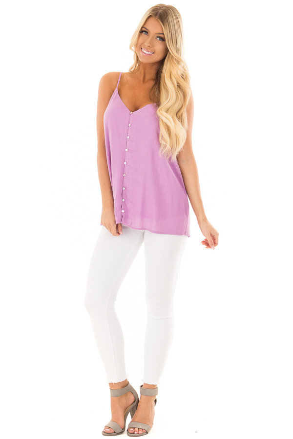 Lavender Button Up Tank Top front full body
